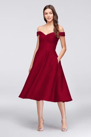 Tea Length A-Line Off the Shoulder Dress - David's Bridal
