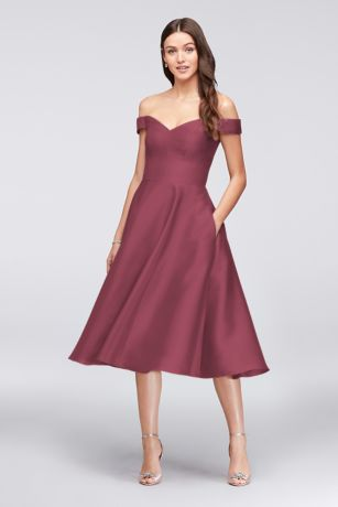 729b3151ce4 Structured David s Bridal Tea Length Bridesmaid Dress