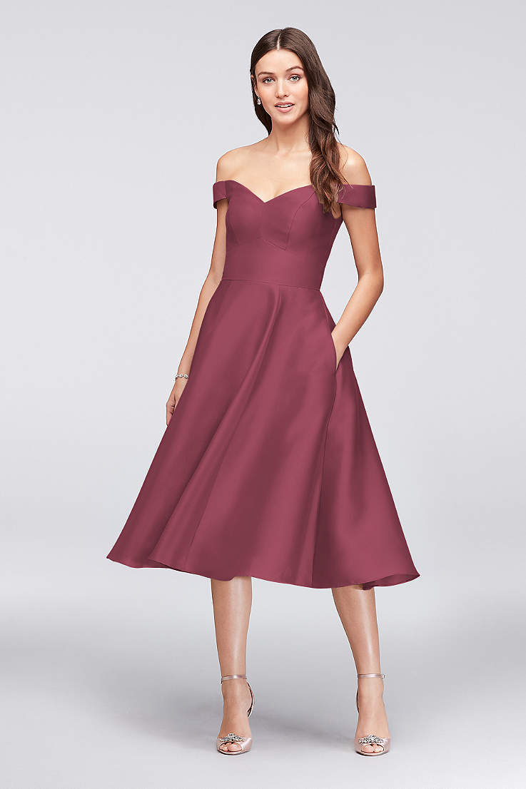 a39b6aae024 Tea Length A-Line Off the Shoulder Dress - David s Bridal