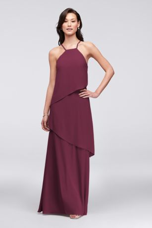 Waterfall Tier Georgette Bridesmaid Dress