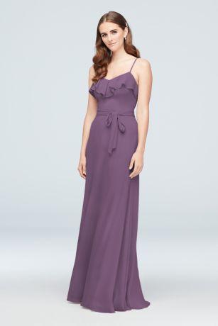 Crinkle Chiffon Ruffled Bridesmaid Dress
