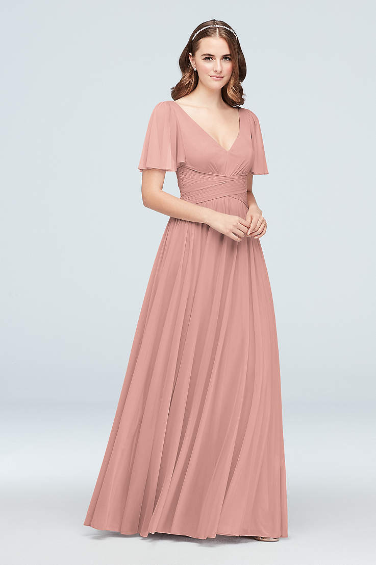 Soft Flowy David S Bridal Long Bridesmaid Dress