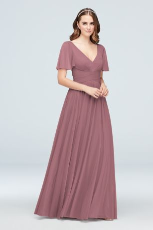 8dec62a2712e1 Soft & Flowy David's Bridal Long Bridesmaid Dress
