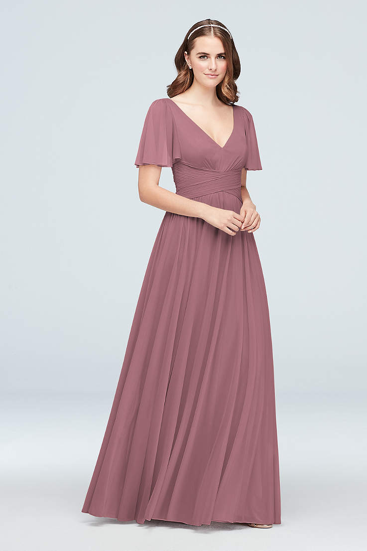 b15ebc6521 Soft   Flowy David s Bridal Long Bridesmaid Dress