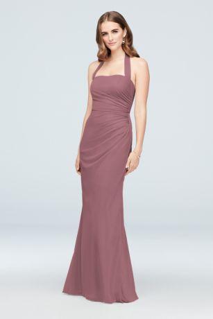 Ruched Mesh Halter Bridesmaid Dress by David's Bridal