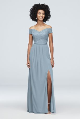 Long Sheath Off the Shoulder Dress - David's Bridal