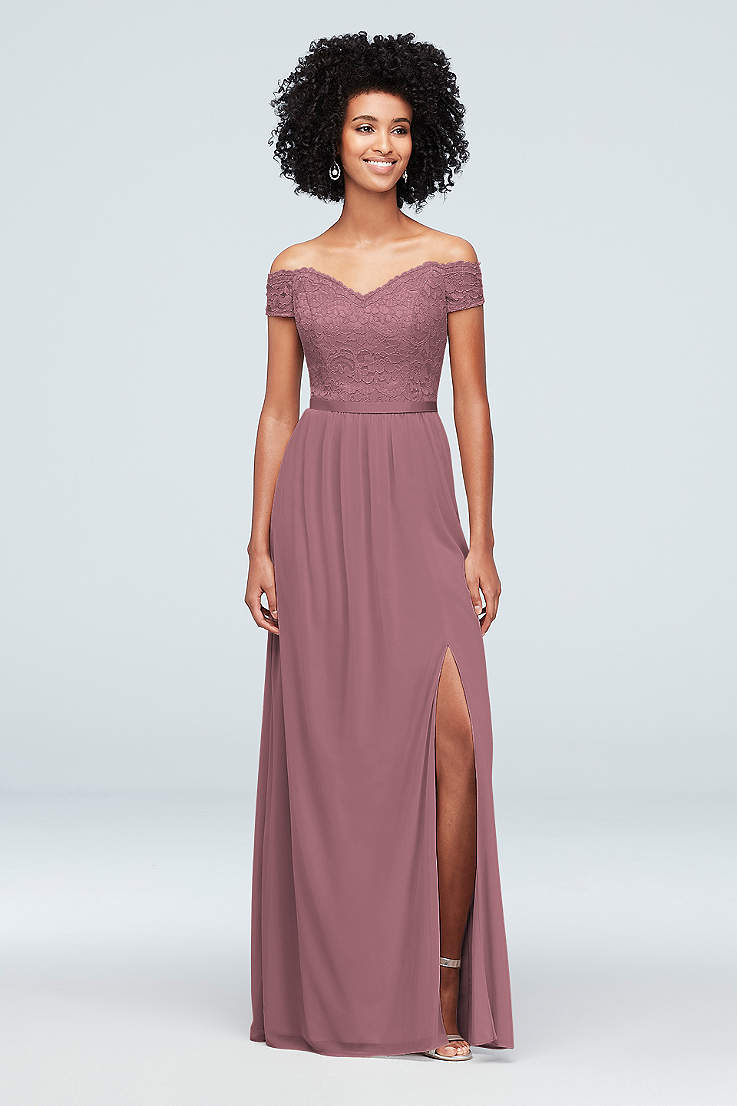 9dc0d81ab56b Soft & Flowy;Structured David's Bridal Long Bridesmaid Dress