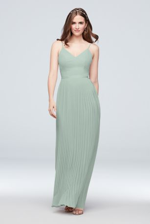 Sheer Chiffon Bridesmaid Dress with Pleated Skirt