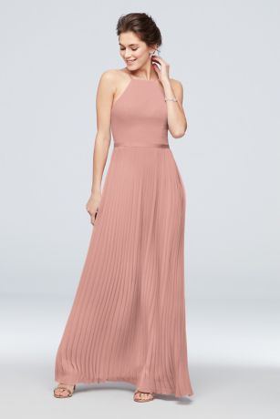Chiffon High-Neck Pleated Skirt Bridesmaid Dress