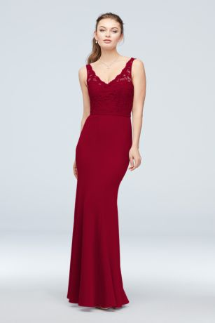 Lace and Stretch Crepe V-Neck Bridesmaid Dress