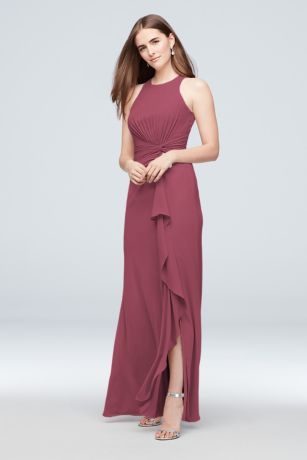 High-Neck Bridesmaid Dress with Cascade Twist