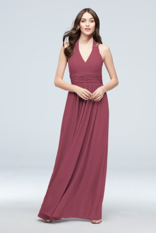 Halter Ruched Waist Georgette Bridesmaid Dress