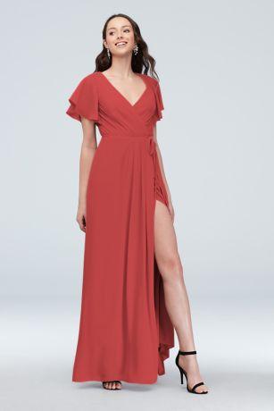 Flutter Sleeve Georgette Bridesmaid Dress