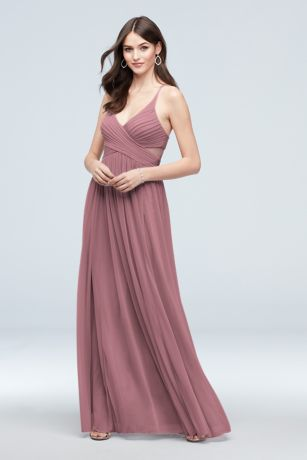 Mesh Illusion Cutout Full Skirt Bridesmaid Dress