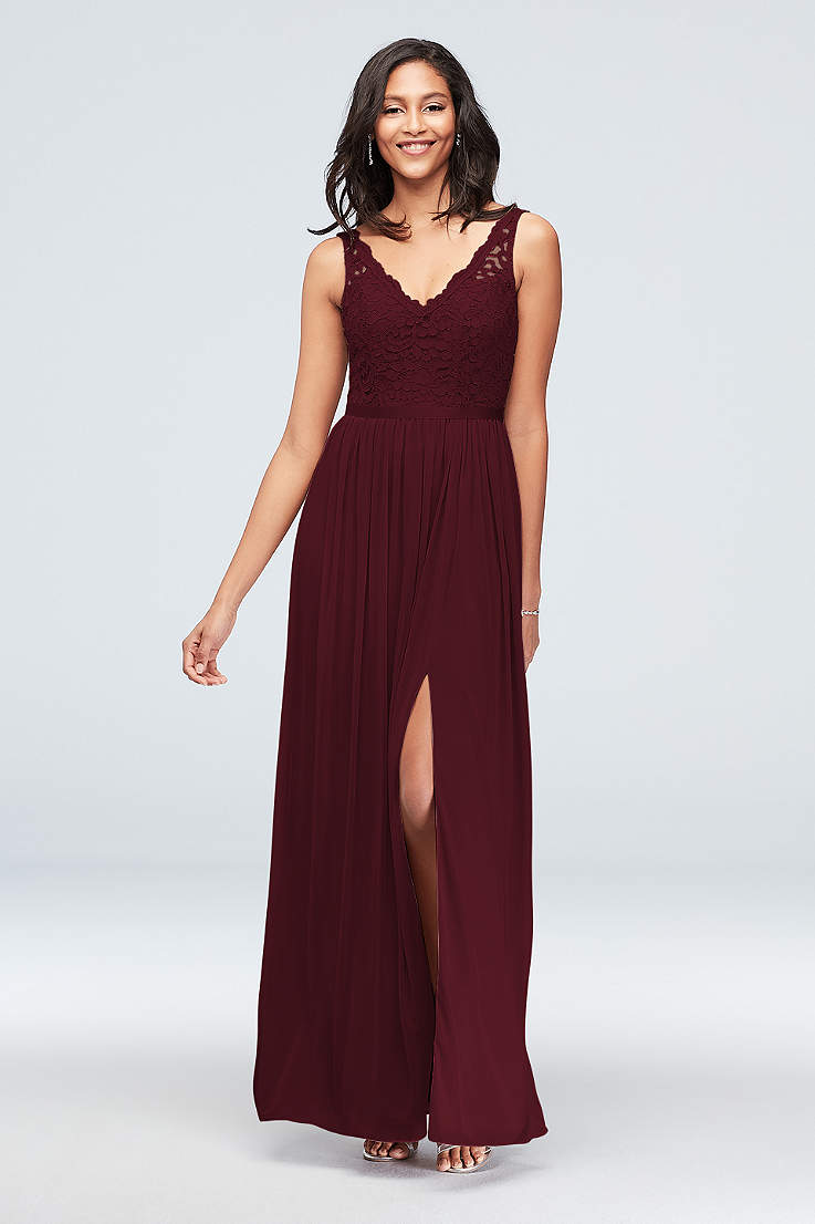 fe96baac6823 Soft & Flowy;Structured David's Bridal Long Bridesmaid Dress