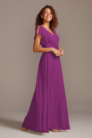 Bridesmaid Dress with Flutter Sleeve Full Skirt