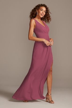 Pleated Tank Stretch Crepe Bridesmaid Dress