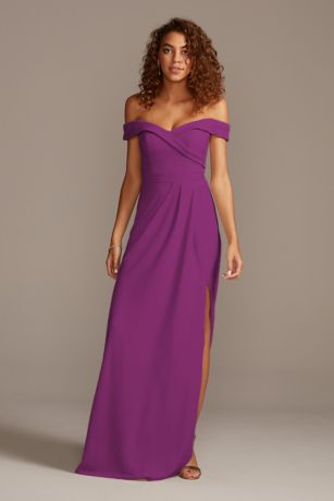 Stretch Crepe Off-the-Shoulder Bridesmaid Dress