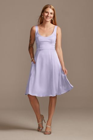 Structured David's Bridal Short Bridesmaid Dress