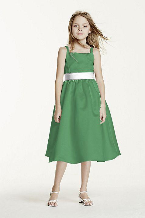 All-over Satin Tea-Length Ball Gown   David\'s Bridal