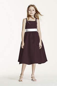All-over Satin Tea-Length Ball Gown