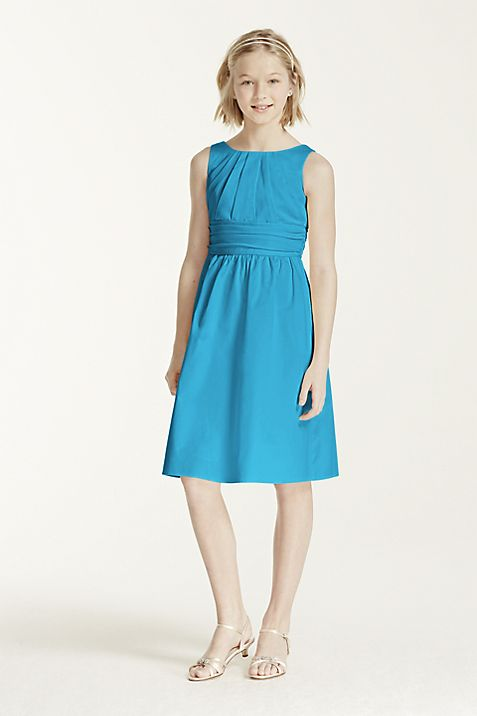 Short Cotton Dress with Ruching Detail | David\'s Bridal