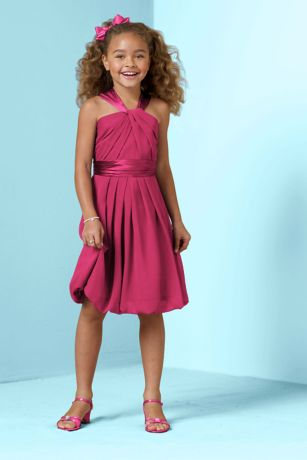 Y Neck Crinkle Chiffon and Charmeuse Dress