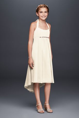 Soft & Flowy David's Bridal High Low;Short Bridesmaid Dress