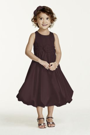 As-Is Satin Tank Bubble Dress with 3D Flower