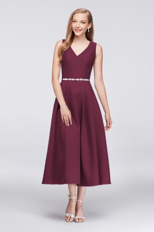 Structured Oleg Cassini Tea Length Bridesmaid Dress