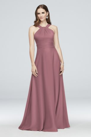 Long A-Line Halter Dress - Oleg Cassini