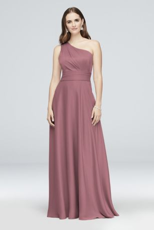 Satin Crepe One Shoulder Bridesmaid Dress by Oleg Cassini