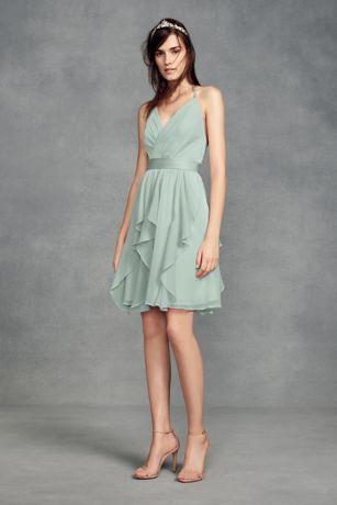 Short Chiffon Bridesmaid Dress with Cascade Skirt
