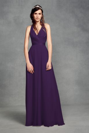 Chiffon Halter Bridesmaid Dress with Tulle Bow