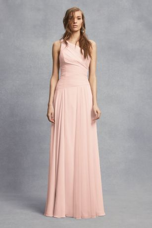 Sheer Strap One-Shoulder Sheath Bridesmaid Dress