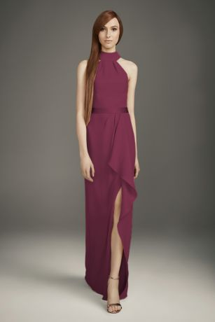 Mock-Neck Double Cloth Bridesmaid Dress