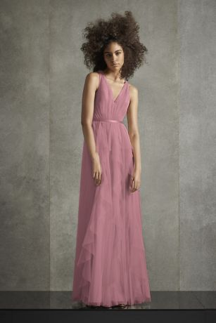 Bobbin Net Plunging Flange Skirt Bridesmaid Dress