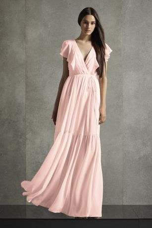 Flutter Sleeve V-Neck Tiered Bridesmaid Dress
