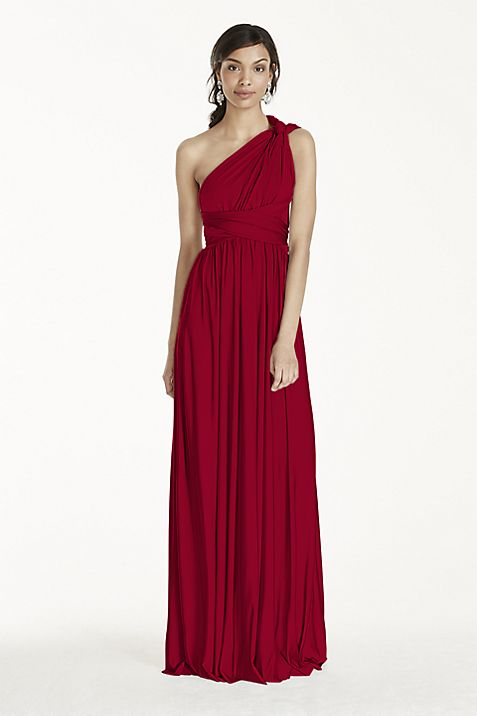 Long Jersey Style-Your-Way 2 Tie Bridesmaid Dress | David\'s Bridal