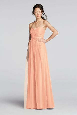 Strapless Tulle Long  Dress with Removable Belt
