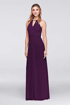 Beaded Keyhole Long Mesh Dress