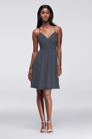 Chiffon Dress with Pleated Bodice and Strappy Back