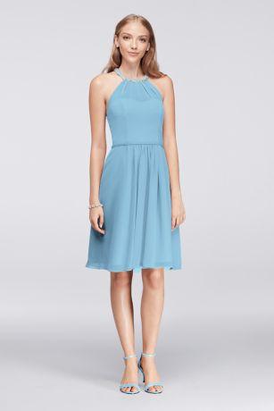 Short Chiffon Dress with Beaded Illusion Neck | David\'s Bridal