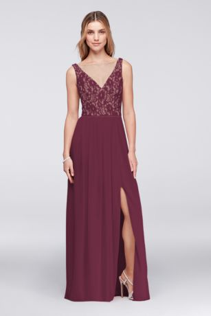 Illusion V-Neck Lace and Mesh Dress