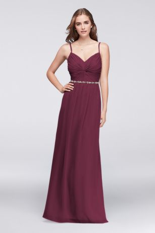 Twist Bodice Chiffon Dress with Beaded Belt