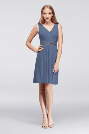 Short Mesh Dress with V-Neck and Beaded Waistband