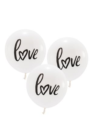 17 Inch White Round Love Balloons Set of 3