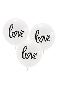 17 Inch White Round Love Balloons Set of 3 4533