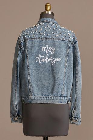 Personalized Pearl Studded Denim Jacket