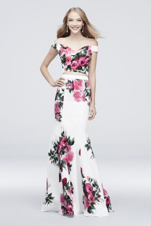 Off-the-Shoulder Floral Printed Two-Piece Set